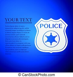 Police badges flat icon on blue background. Vector...