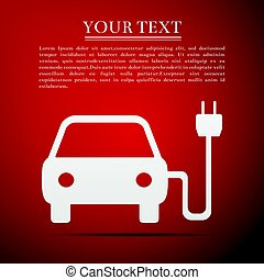 Electric powered car symbol flat icon on red background. Vector Illustration