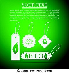 Eco tags flat icon on green background. Vector Illustration
