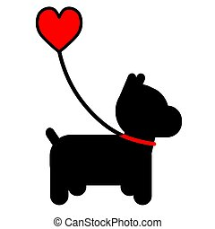 Dog and Heart - A silhouette of a little black dog on a...