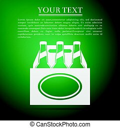 Pack of Beer flat icon on green background. Vector...