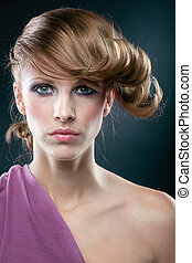 Fasion portrait - High fashion colorportraitofbeautifulwoman...