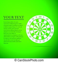 Classic Darts Board with Twenty Black and White Sectors flat icon on green background. Vector Illustration