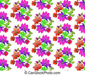 seamless vector pattern of fairytale  pink flowers