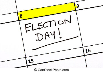 Election Day Highlighted on a Calendar - The 8th June...