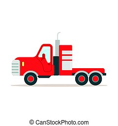 Red cargo truck colorful cartoon vector Illustration...
