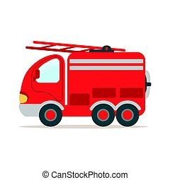 Red fire truck, fire emergency colorful cartoon vector Illustration