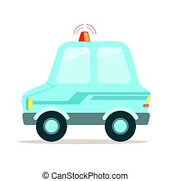 Light blue cartoon police car vector Illustration
