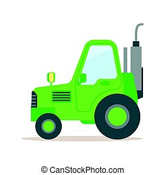 Green tractor, heavy agricultural machinery colorful cartoon vector Illustration