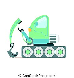 Green excavator truck, construction machinery equipment colorful cartoon vector Illustration
