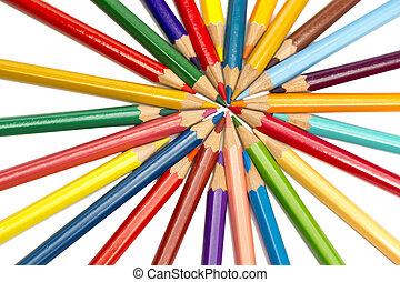 Color pencils spread around