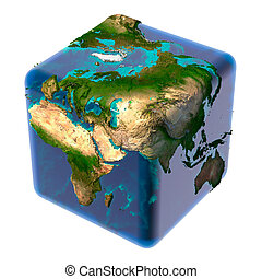 Cubic Earth with translucent ocean - Earth as a cube with...