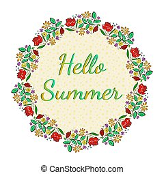 Beautiful floral card with Hello Summer text
