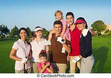 Golf course group of friends people with children posing...