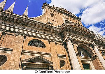 Rome, Italy - Santa Maria dell Orto church on blue sky...