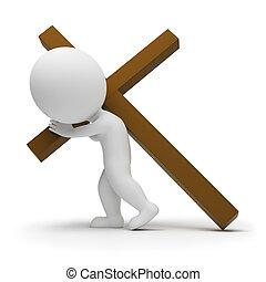 3D, pequeno, pessoas, -, rolamento, crucifixos