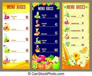 Colorful Natural Juices Menu Template