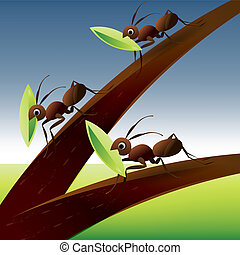 Team Work Spirit, set of ants working together .