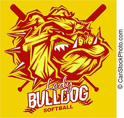 lady bulldog softball mascot team design for school,...