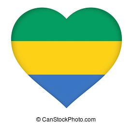 Flag of Gabon Heart. - Illustration of the flag of Gabon...