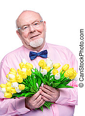 spring gift to granny - Happy smiling old man gives a...