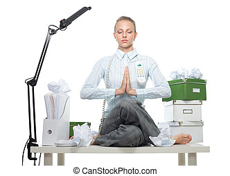 business meditation - Calm confident business woman sitting...