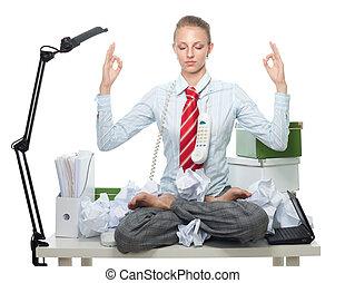 cold head - Business woman keep her head cool via mediation