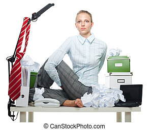 Flexible business woman in office