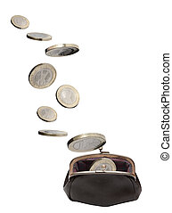 Change Purse And Coins - One euro coins falling into open...