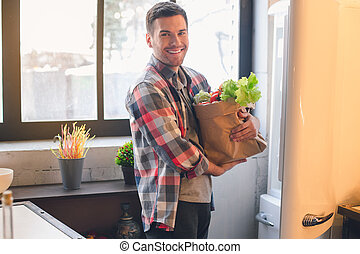 Young Man Vegan With Healthy Organic Food Products