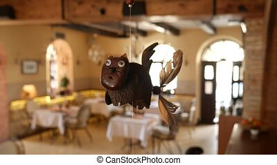 Interior Design cafe. Cat with a propeller at the rear.