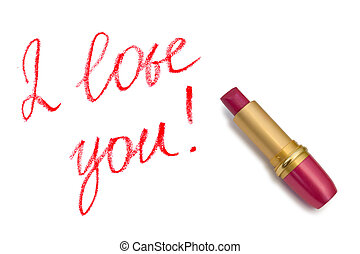 Lipstick and words I love you isolated on white background