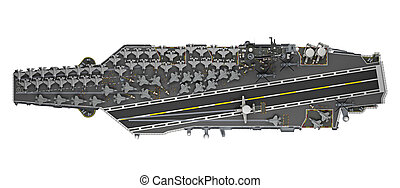 aircraft carrier top view isolated 3d rendering