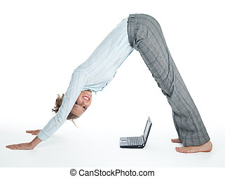 Flexible businesswoman with laptop computer isolated on...