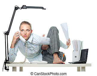 Flexible woman in office doing multiple jobs at the same...