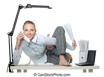 Flexible business woman talk by phone sitting in crooked...