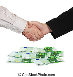 Handshake and money Euro isolated on white background