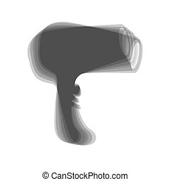Hair Dryer sign. Vector. Gray icon shaked at white background.