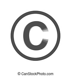 Copyright sign illustration. Vector. Gray icon shaked at white background.