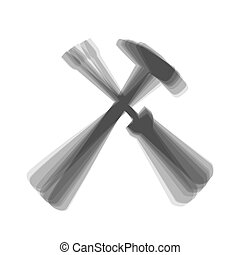 Tools sign illustration. Vector. Gray icon shaked at white...
