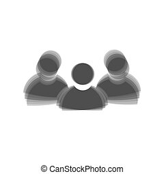 Team work sign. Vector. Gray icon shaked at white background.