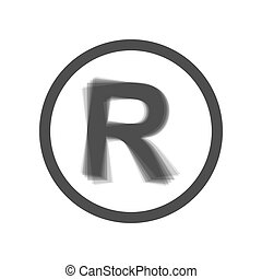 Registered Trademark sign. Vector. Gray icon shaked at white background.