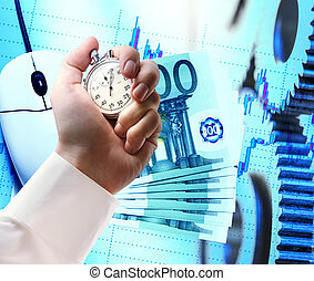 Computer mouse, euro and stopwatch in hand