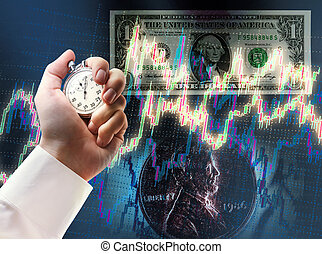 Candlestick chart, coin, dollar and stopwatch in male hand