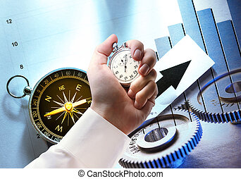 Compass, diagram, cogwheels and stopwatch in hand