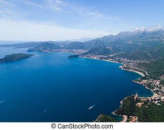 View of the Adriatic coast, Montenegro, aerial