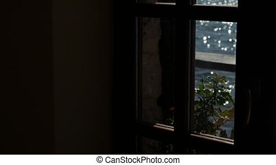 Sea view from the window of a cafe. - Sea view from the...