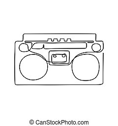 One line drawing. - One line drawing of record player. Black...