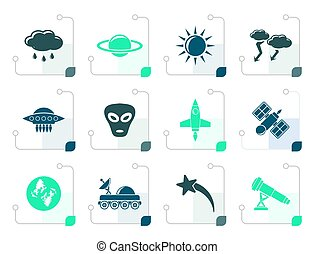 Stylized Astronautics and Space and universe Icons - Vector...