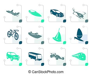 Stylized different kind of transportation and travel icons